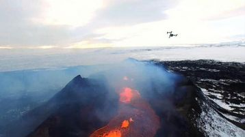 Drone Making Adjustments - DMA at Holuhraun