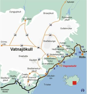 Map of adventure tours on Vatnajokull